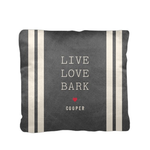 Simply Chic Live Love Bark Pillow, Cotton Weave, Pillow (Ivory), 16 x 16, Single-sided, Red
