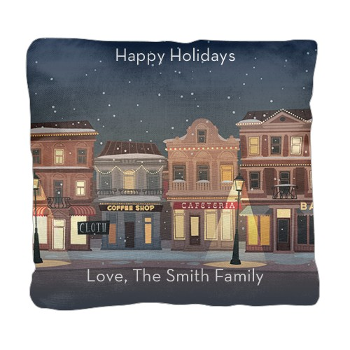 Holiday Street Pillow, Cotton Weave, Pillow, 18 x 18, Double-sided, White