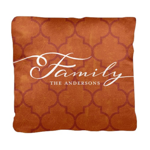 Family Quatrefoil Pillow Orange