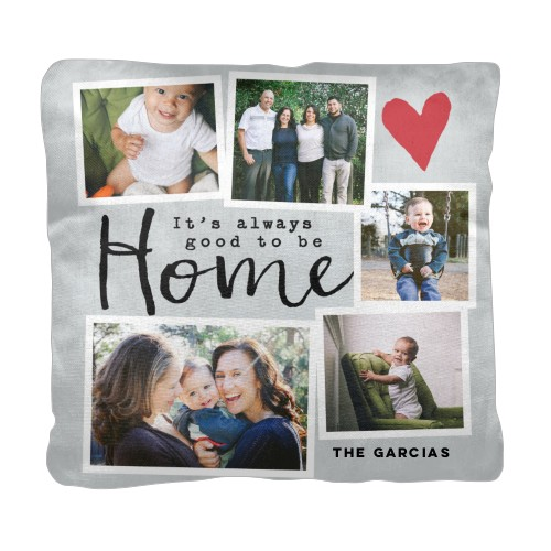 Good To Be Home Pillow, Cotton Weave, Pillow, 18 x 18, Double-sided, Grey