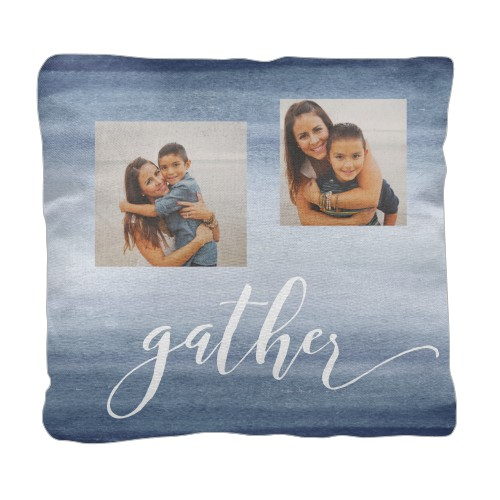 Gather Ombre Collage Pillow, Cotton Weave, Pillow (Black), 18 x 18, Single-sided, Blue