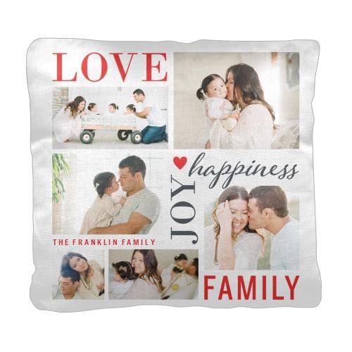 Love Joy Family Pillow, Cotton Weave, Pillow, 18 x 18, Double-sided, White