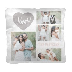 love wood collage pillow