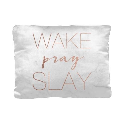 Wake Pray Slay Pillow, Cotton Weave, Pillow, 12 x 16, Double-sided, White