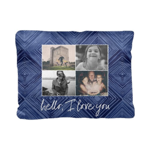 Diamond Collage Pillow, Cotton Weave, Pillow, 12 x 16, Double-sided, Blue