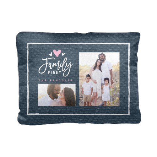 Family First Pillow, Cotton Weave, Pillow (Ivory), 12 x 16, Single-sided, Blue