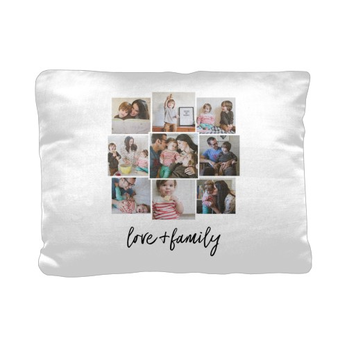 Love and Family Pillow, Cotton Weave, Pillow (Black), 12 x 16, Single-sided, White