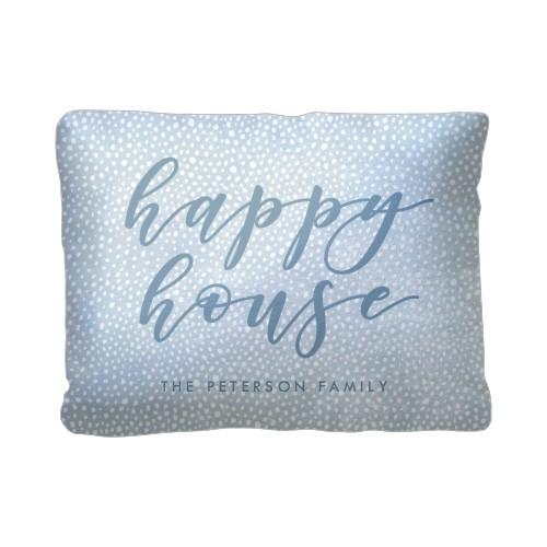 Happy House Script Pillow, Sherpa, Pillow (Sherpa), 12 x 16, Single-sided, Blue