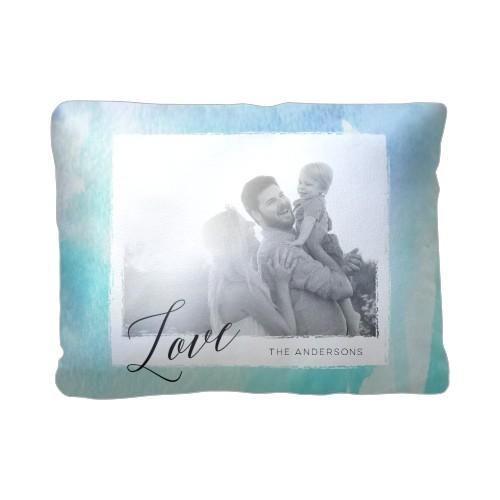 Blue Watercolor Pillow, Sherpa, Pillow (Sherpa), 12 x 16, Single-sided, Blue
