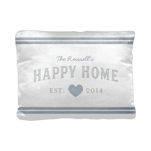 Happy Home Pillow, Cotton Weave, Pillow (Black), 12 x 16, Single-sided, Grey