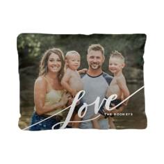 tilted love script pillow