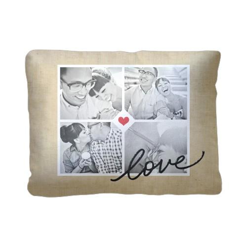 Love Grid Pillow, Sherpa, Pillow (Sherpa), 12 x 16, Single-sided, Beige