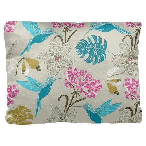 Hummingbird Pillow, Cotton Weave, Pillow, 18 x 24, Double-sided, White