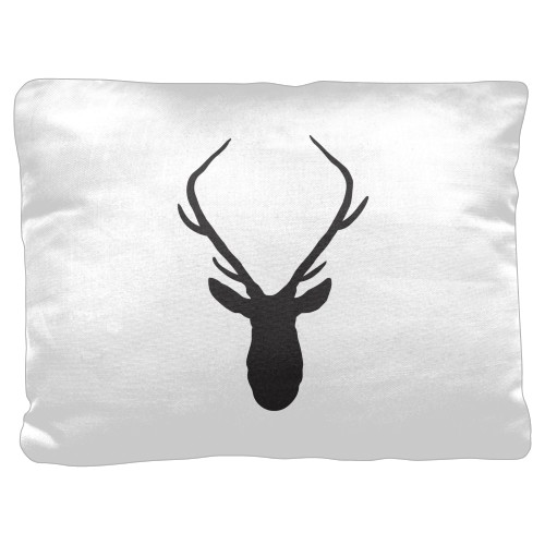 Deer Silhouette Pillow, Cotton Weave, Pillow (Ivory), 18 x 24, Single-sided, White