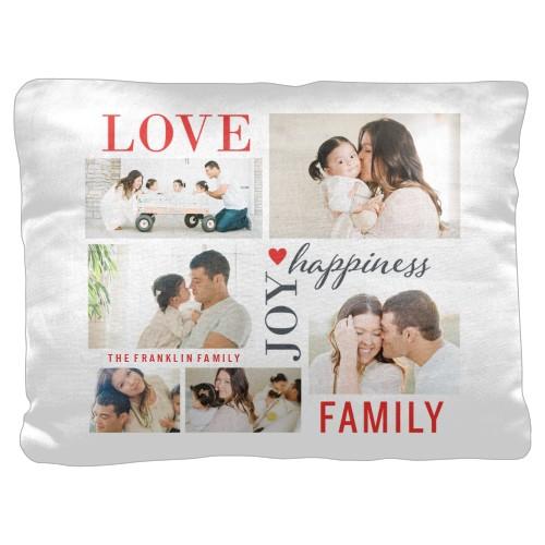 Love Joy Family Pillow, Cotton Weave, Pillow, 18 x 24, Double-sided, White