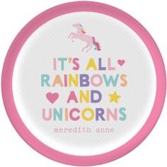 emoji rainbow unicorn plate