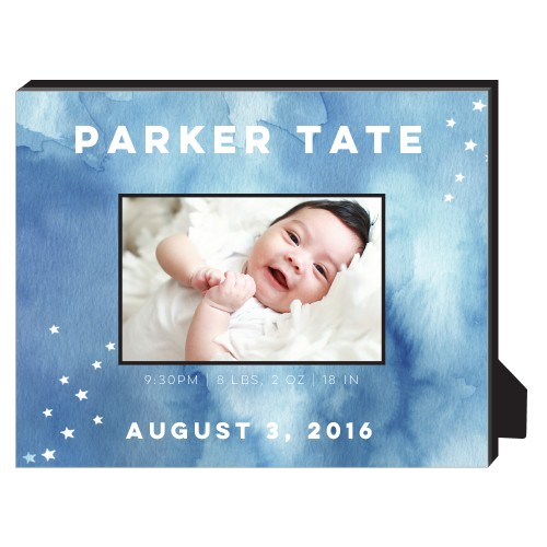 Watercolor Stars Personalized Frame, - No photo insert, 8 x 10 Personalized Frame, Blue