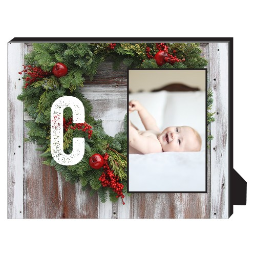 Christmas Wreath Personalized Frame, - No photo insert, 8 x 10 Personalized Frame, Multicolor