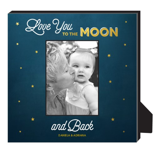 Love You To The Moon Personalized Frame, - No photo insert, 11.5 x 11.5 Personalized Frame, Blue