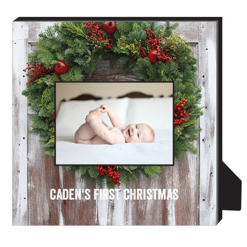 Christmas Wreath Personalized Frame, - Photo insert, 11.5 x 11.5 Personalized Frame, Multicolor