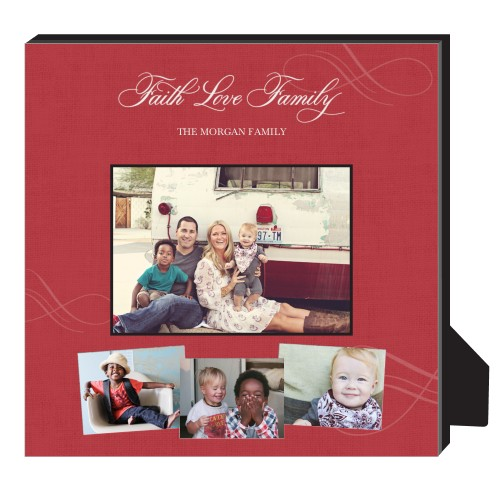 Faith Love Family Personalized Frame, - No photo insert, 11.5 x 11.5 Personalized Frame, Red
