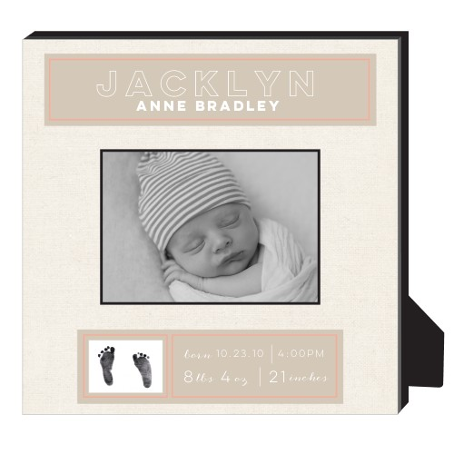 Newborn Frame Personalized Frame, - Photo insert, 11.5 x 11.5 Personalized Frame, Beige