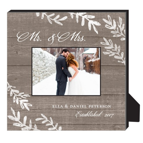 Rustic Wood Foliage Personalized Frame, - No photo insert, 11.5 x 11.5 Personalized Frame, Brown