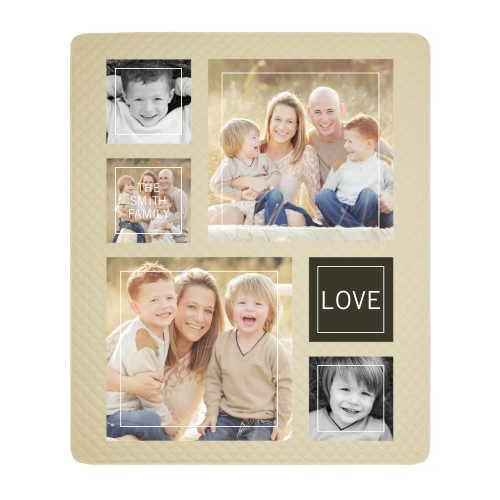 Simple Line Frames Photo Quilt, Ivory, Grey
