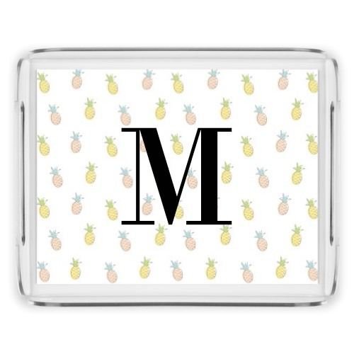 Monogram Pattern Serving Tray, 11.5x9 Inches, Multicolor