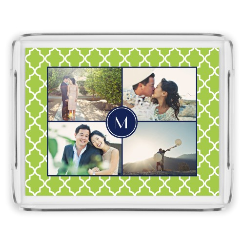 Lantern Print Monogram Serving Tray, 11.5x9 Inches, DynamicColor