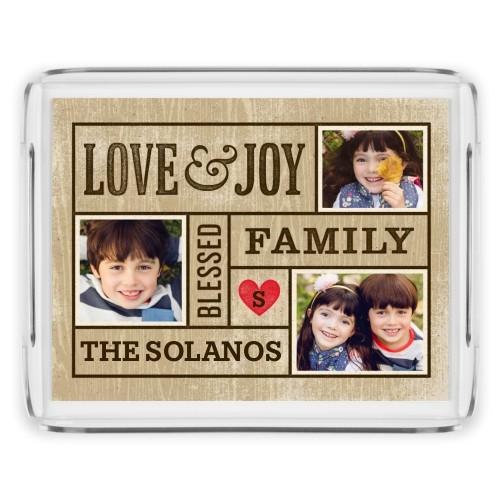 Love Joy Blessed Family Serving Tray, 11.5x9 Inches, Beige