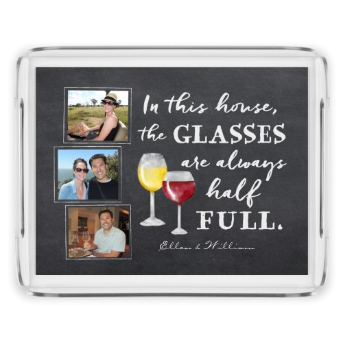 Chalkboard Wine Serving Tray, 11.5x9 Inches, Grey