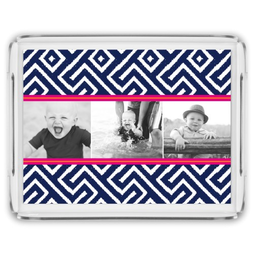 Lively Stripes Serving Tray, 17x13 Inches, Blue