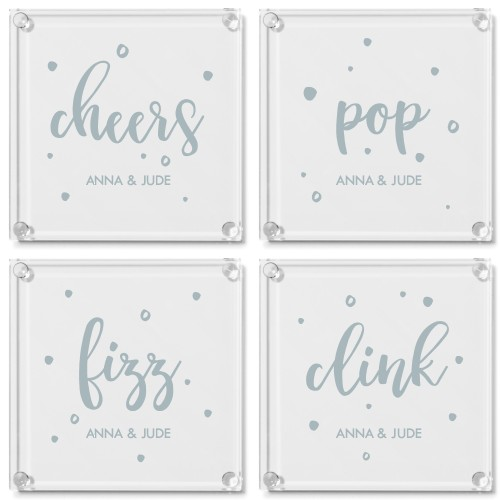 Cheers Glass Coaster, Set of 4, White