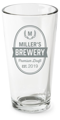 Brewery Pint Glass, Set of 1, White
