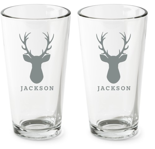 Deer Silhouette Pint Glass, Set of 2, White