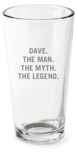 The Man Pint Glass, Set of 1, White
