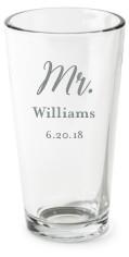 mr and mrs set pint glass