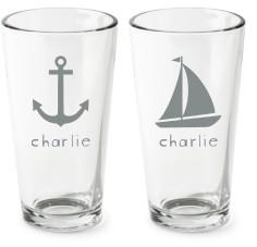 nautical set pint glass