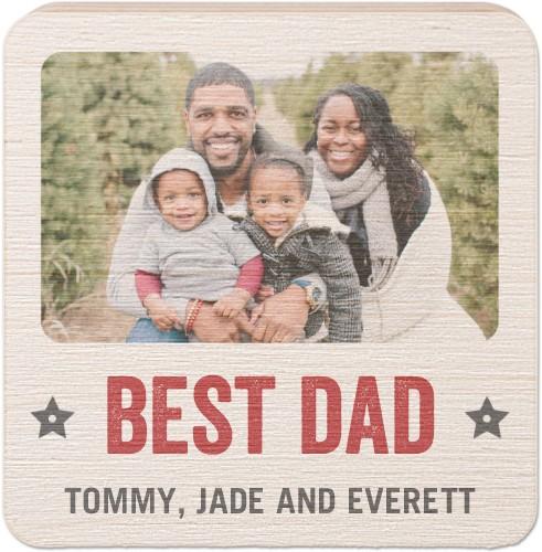 Best Dad Award Square Wooden Magnet
