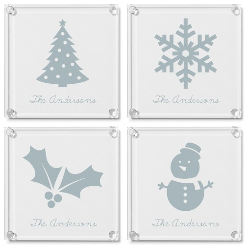 Iconic Christmas Glass Coaster, Set of 4, White