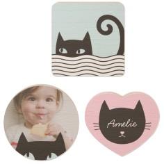 kitty kid set wooden magnet