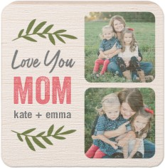 love mom foliage wooden magnet