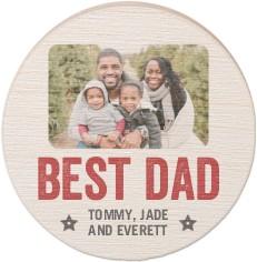 best dad award circle wooden magnet