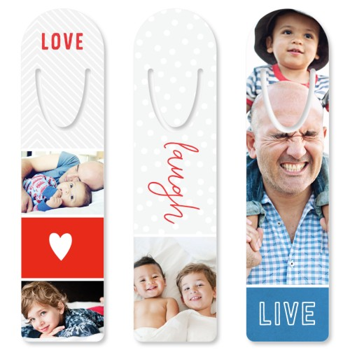 Live Love Laugh Set Custom Bookmark, Set of 3, Red