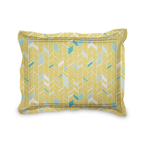 Multi Herringbone Sham, Sham, Sham w/ Grey Damask Back, Standard, Multicolor