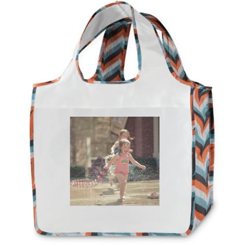 Orange Chevron Stripe Reusable Shopping Bag