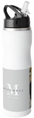 classic monogram stainless steel water bottle with straw