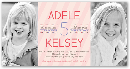 stripe girls 4x8 invitation | twin birthday invitations | shutterfly, Birthday invitations