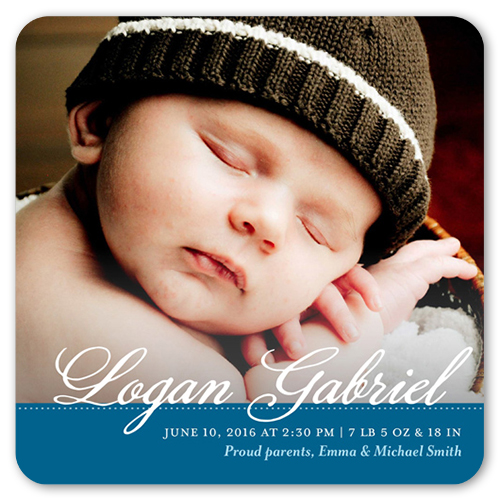 Classic Name Boy Birth Announcement, Rounded Corners